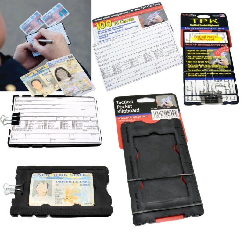 TPK Police Tactical Pocket Klipboard +100 Pack FI Cards Small Mini Clipboard