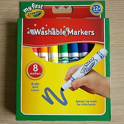 NEW - 8 CRAYOLA - MY FIRST MARKERS - Washable Felt Tip Childrens Kids 1st Pens