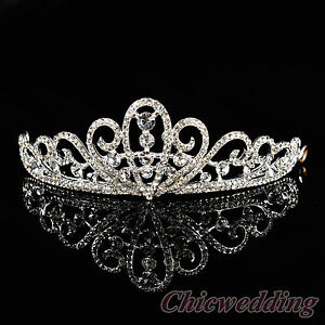 Wedding-Tiara-Crystal-Jeweled-Princess-Bridal-Crown-Pageant-Homecoming-Prom