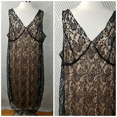 Vintage 90s size 3X 22/24 Gothic Dress Sheer Floral Victorian Lace Sexy Grunge