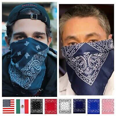 Bandana Paisley Face Mask Head Wrap Cotton Scarf Neck Cover Army Camo US Flag