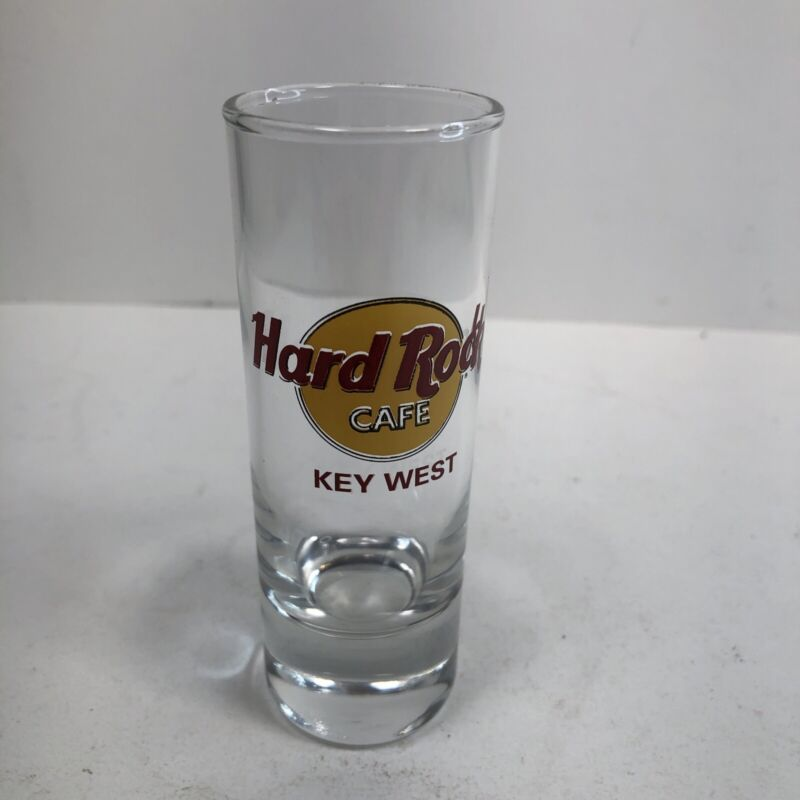 """Hard Rock Cafe Double Shot Glass Red Lettering - 4"""" Tall - Key West"""