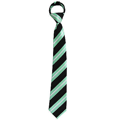 New Kids Boys Zipper Adjustable Pre-tied Necktie Mint Black Silver Stripe - New Boys Zipper