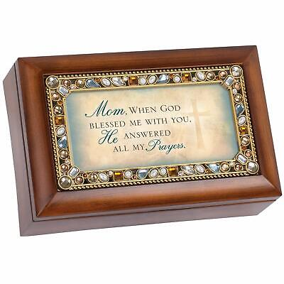 Cottage Garden Mom When God Jeweled Woodgrain Jewelry Music Box - Plays Tune A..