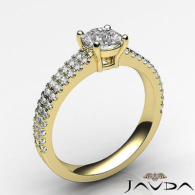 2 Row Shank French U Pave Round Diamond Engagement Ring GIA Certified E VVS1 1Ct 1