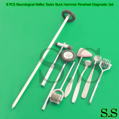8 PCS Neurological Percussion Reflex Taylor Buck Hammer Pinwheel Diagnos DS-913