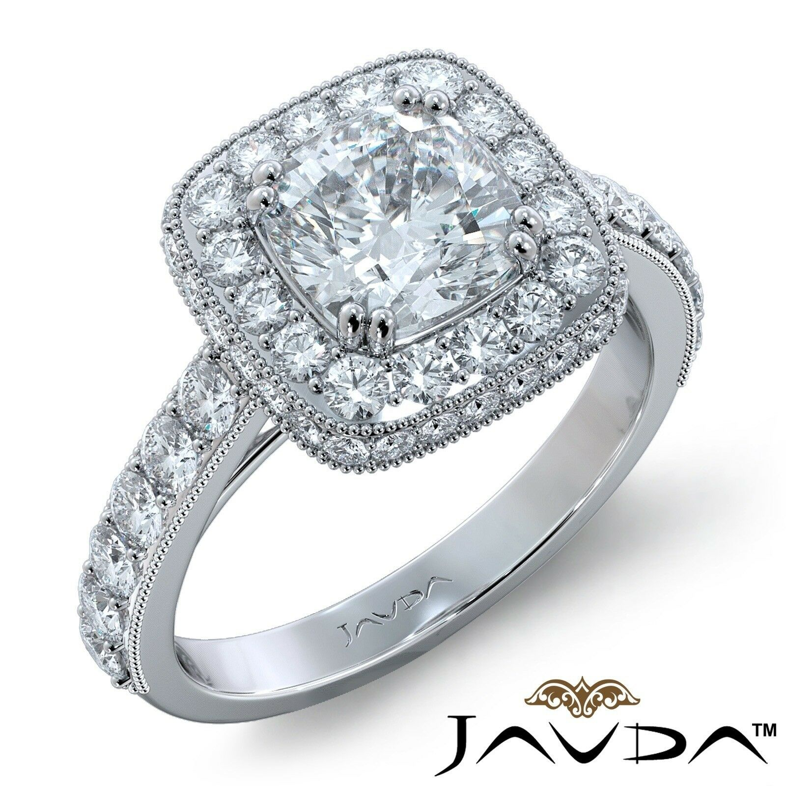 1.94ctw Milgrain Floral Basket Cushion Diamond Engagement Ring GIA E-VVS1 W Gold