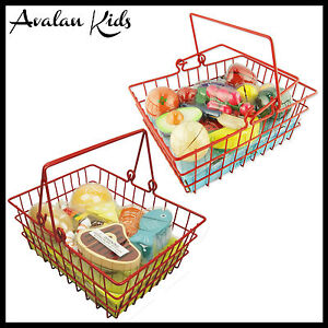 2 Baskets 24 piece Wooden Pretend Play Toy Food Fruit & Meat Kids Kitchen