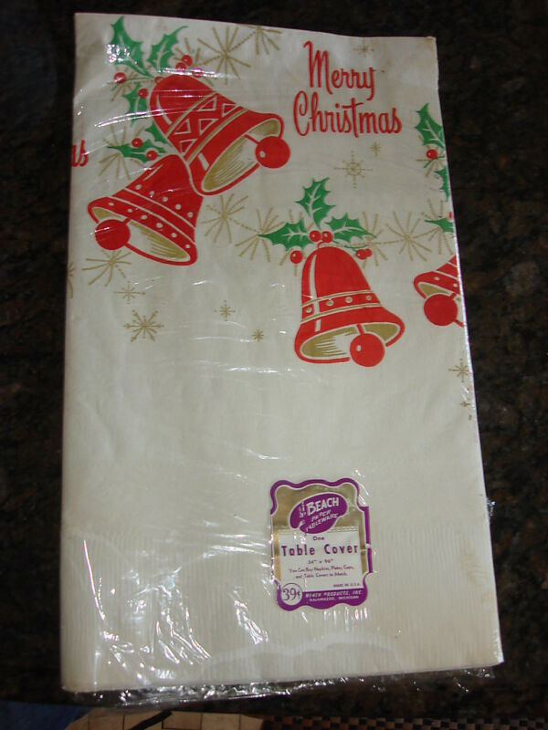 """Vintage MERRY CHRISTMAS PAPER TABLECLOTH 54"""" by 96"""""""