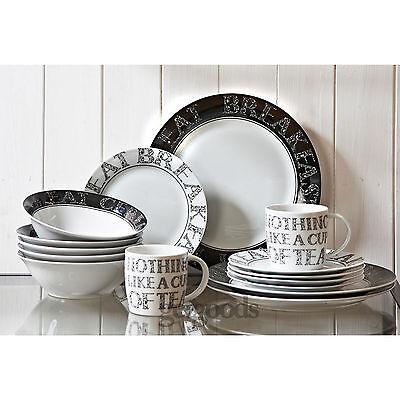 16 Piece Soho Porcelain Dining Serving Dinner Service Set Plates Bowls Mugs Cups