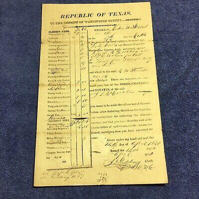 1842 Republic of Texas Washington County Jesse McCrocklin Giddings Lynch Stevens