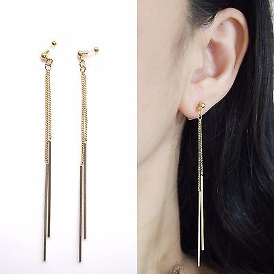 Dangle Bar Japanese Invisible Clip On Earrings Long Gold Threader Chain Clip-ons