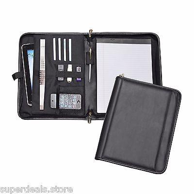 Black Color Zip-Around Padfolio Organizer for USB Tablet Phone - AP8116