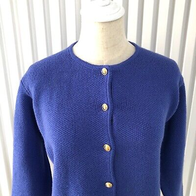 80s Sweatshirts, Sweaters, Vests | Women Vintage Casaveen Ultramarine Blue Knit Cardigan Pure New Wool Size S Made in Aus $33.40 AT vintagedancer.com
