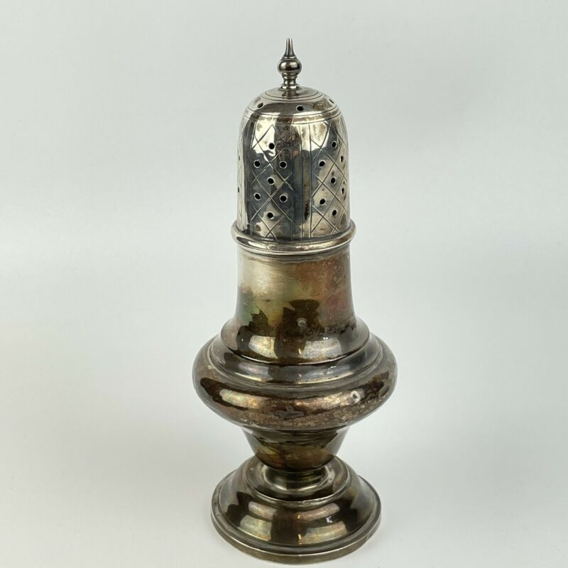 Antique Solid Silver Sugar Caster / Shaker Height 18cm Width 7.5cm A/F