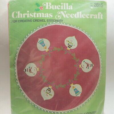 Vtg Bucilla Christmas Tree Skirt Kit Crewel Needlecraft Holiday Ornaments #2815