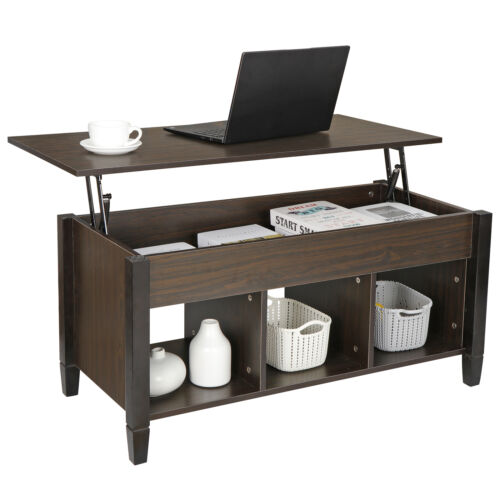 Lift Top Coffee Table with Hidden Storage Compartment Shelf
