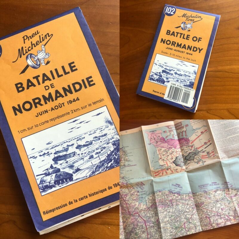 Reprint 1947 VTG MAP - Michelin Tires Battle of Normandy June - August 1944