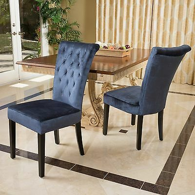 Set of 2 Blue Velvet Dining Chairs w/ Tufted Accents