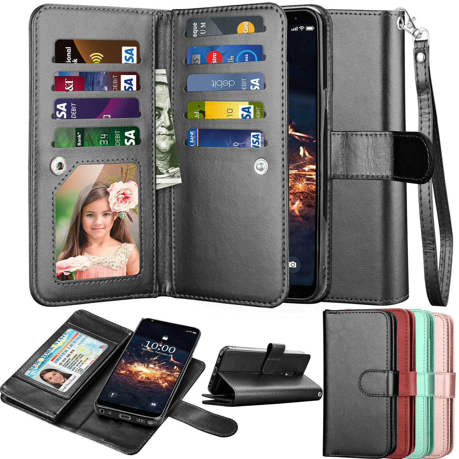 LG G6 Case The Grafu Shockproof Flip Folio PU Leather Wallet Cover for LG G6 Book Style Case with Card Holder and Magnetic Closure Rose Gold