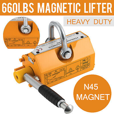 300kg Steel Magnetic Lifter Heavy Duty Crane Hoist Lifting Magnet 660lbs