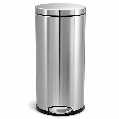 8 Gallon Trash Can - simplehuman 30 Liter/8 Gallon Stainless Steel Round Kitchen Step Trash Can,