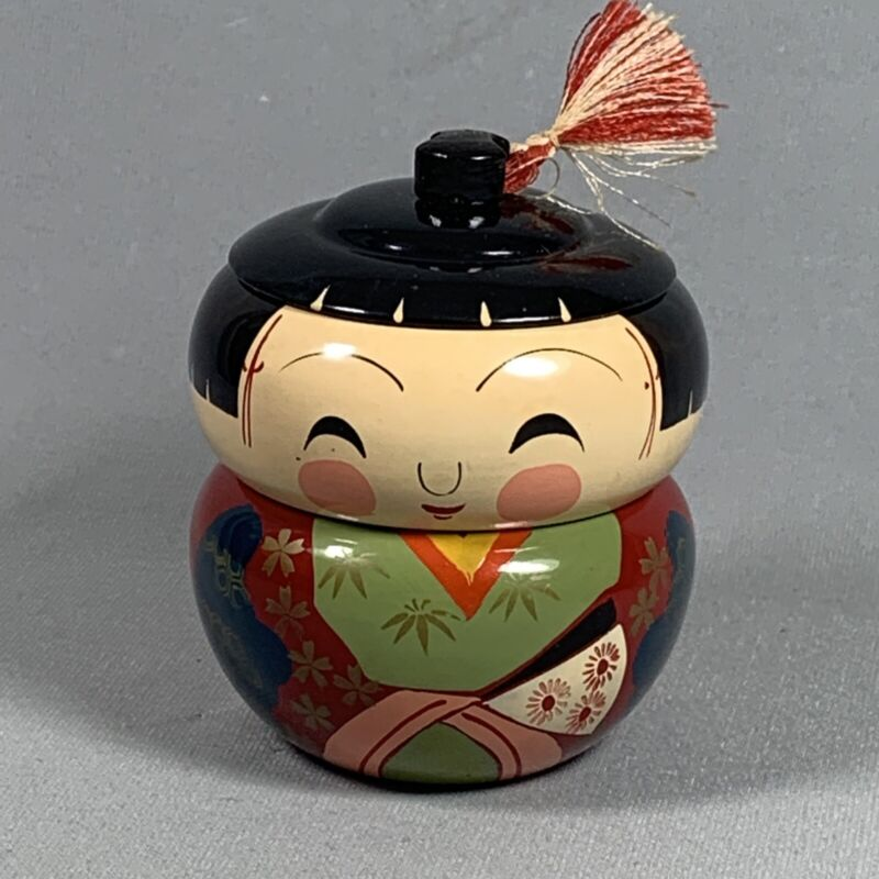 Vtg Japan Lacquer Stacking Doll Box