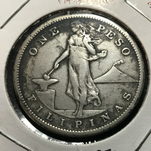 1907-S PHILIPPINES SILVER ONE PESO CROWN COIN