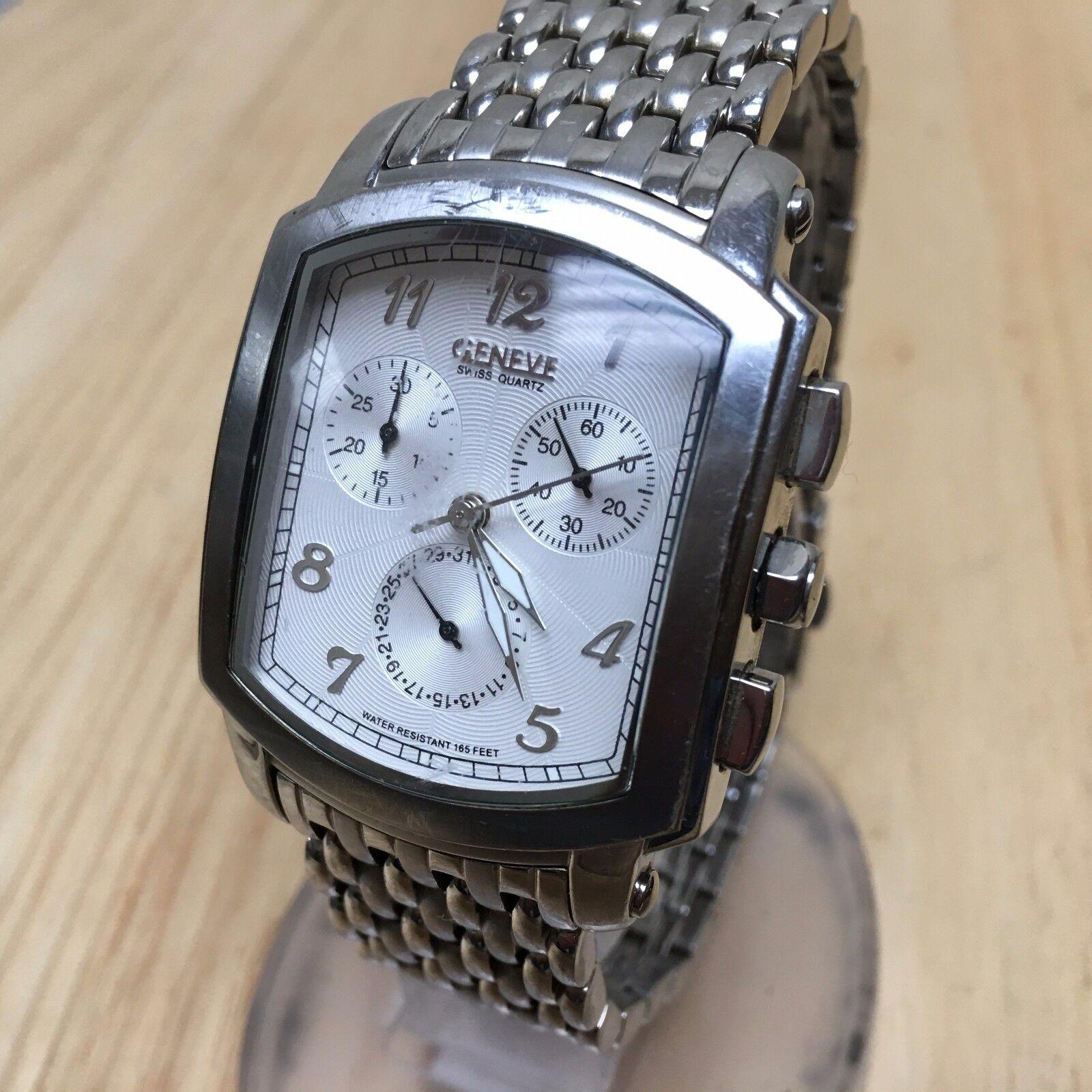 $62.99 - Luxury Geneve Swiss Mens All Steel Analog Quartz Chrono Watch Hours~New Battery