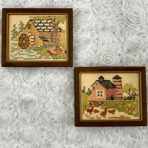 Set of 2 Vintage Completed Cross Stitch Farm and River Framed