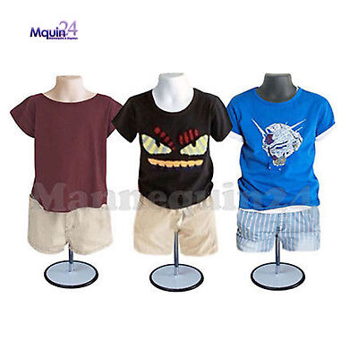 3 Pack Child Torso Mannequin Form Set -white Flesh Black 3 Stands 3 Hangers