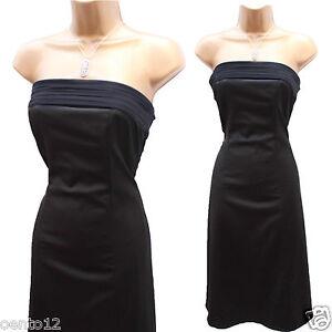 coast black satin stretch corset bandeau wiggle cocktail