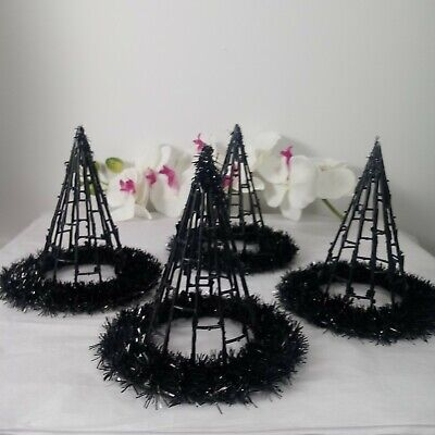 Halloween Witch Hats For Crafting NEW Set Of 4 Black NWOT Garland Embellished