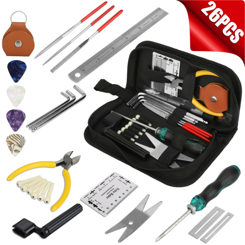 26Pcs Guitar Bass Care Maintenance Repairing Tools Kit w/ Carry Bag Picks String