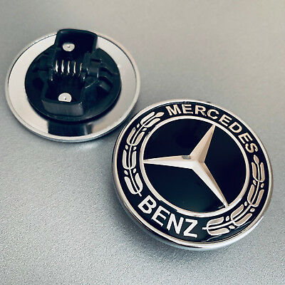 Black Metal Flat Hood Emblem For Mercedes Benz C E SL Class Ornament logo 57MM