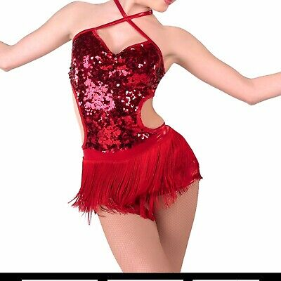 A Wish Come True Shake It Off Tap Jazz Red Sequin Dance Costume Medium Child
