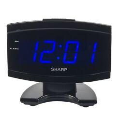 NEW Sharp Blue LED Large Display Digital Electric Alarm Clock Timer Snooze