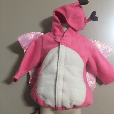 12 Month Old Girl Halloween Costumes (6-12 Months OLD NAVY PINK LOVE BUG w WINGS Valentine's Day Costume Fleece)