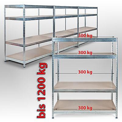 160x150x60cm Weitspannregal Schwerlastregal Lagerregal 300kg je Boden Verzinkt