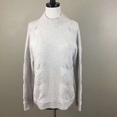The White Company $289 Cashmere Leaf Cable Roll Neck Sweater Size M Gray