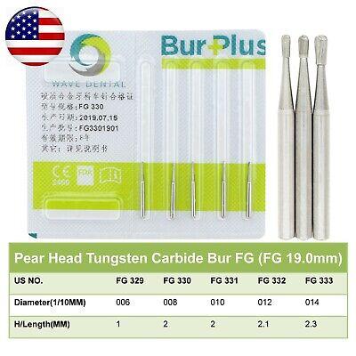 Wave Dental Operative Tungsten Carbide Bur Pear Shape Friction Grip Fg 330 331