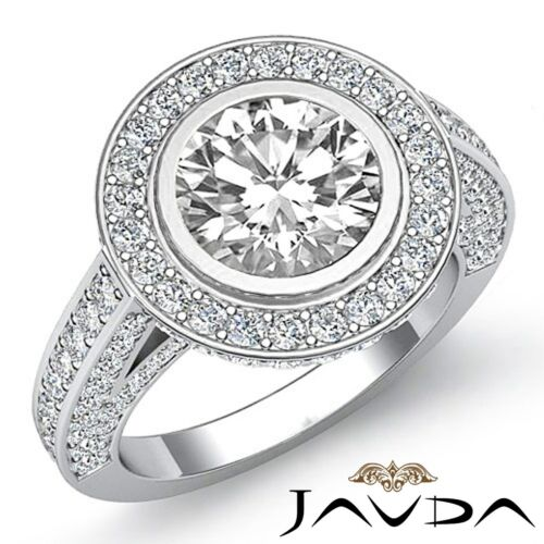 Round Cut Diamond Engagement Halo Bezel Set Ring GIA F VS1 14k White Gold 3.5ct
