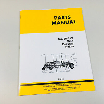 Parts Manual For John Deere No. 594lw Side Delivery Rake Catalog Assembly