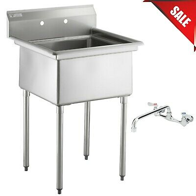 30 With Faucet 24 X 24 X 12 Bowl Stainless Steel Commercial Utility Sink Nsf