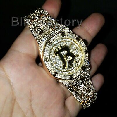 Men's Gold Plated Iced Luxury BITCOIN Rapper's Metal Band Dress Clubbing Watch