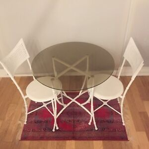 Bistro set white with glass top
