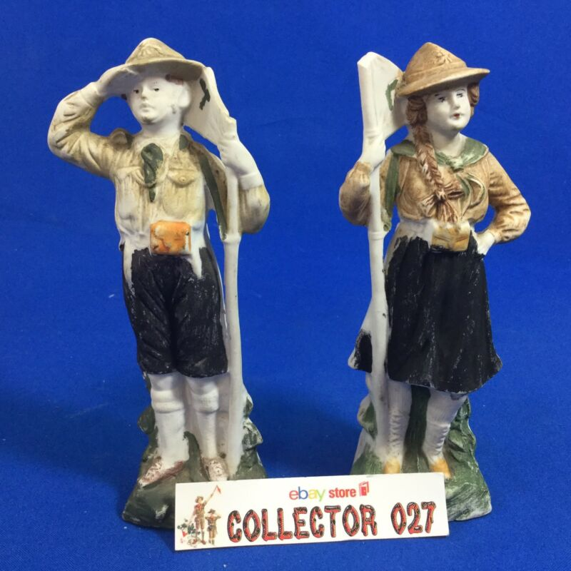Boy Scout Vintage Boy Scout & Girl Scout / Guide Figurines