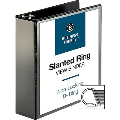 Business Source D-ring View Binder 3 Capacity 11x8-12 Black 28449