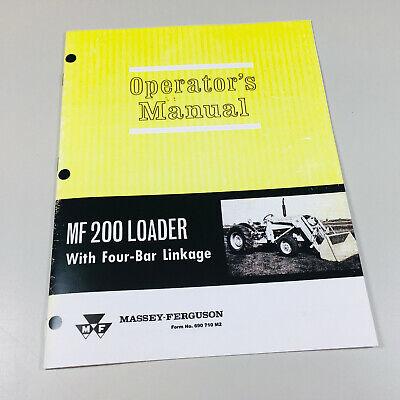Massey Ferguson Mf 200 Loader Operators Owners Manual Maintenance Adjustments