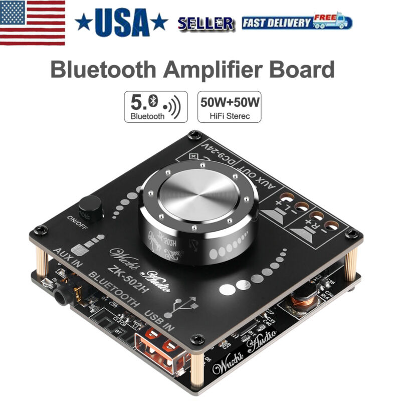 Bluetooth 5.0 Amplifier Board Hifi Stereo 2.0 Dual 50W Audio Amplifier Module